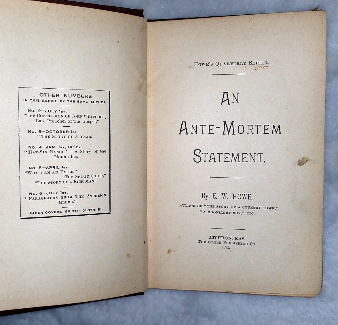 Image for An Ante-Mortem Statement