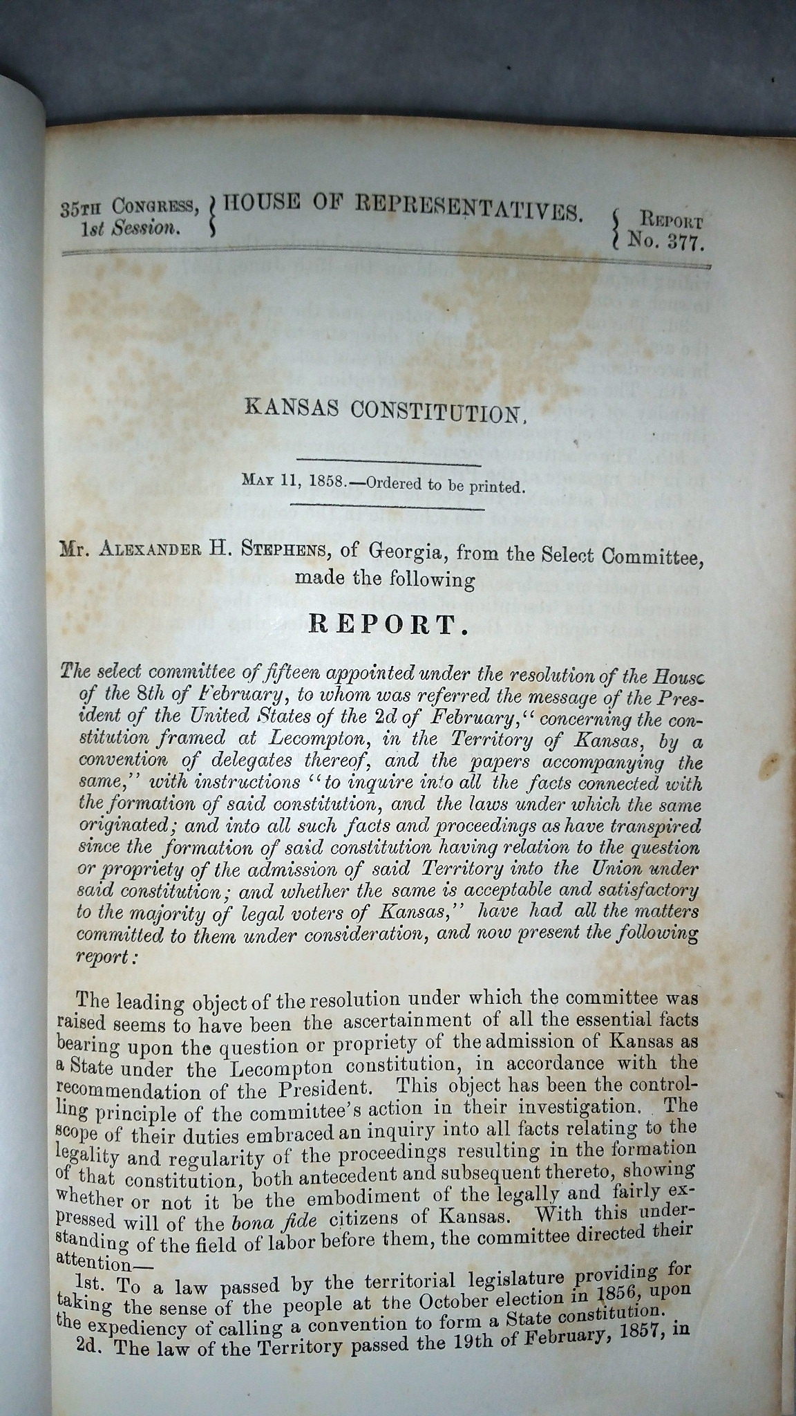 Image for Kansas Constitution (35th Congress, 1st Session, House of Representatives, Report No. 377)