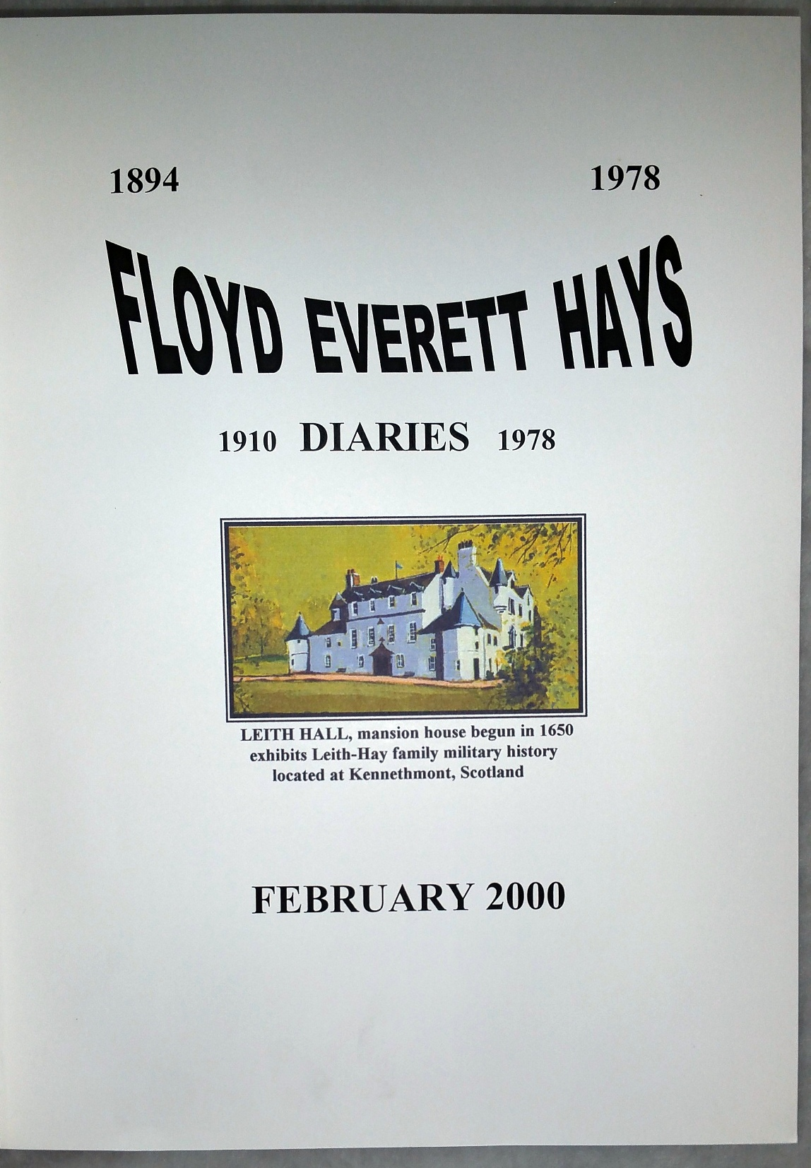 Image for Floyd Everett Hays, Diaries 1910-1978