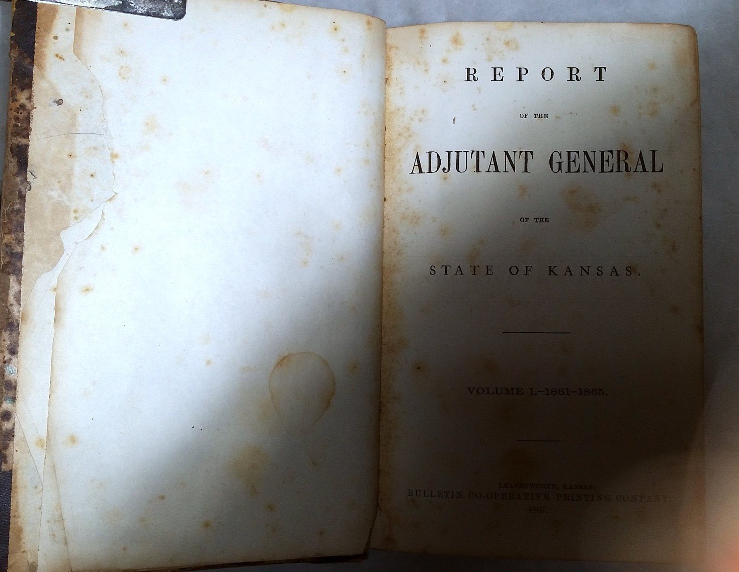 Image for Report of the Adjutant General of the State of Kansas. Volume I. - 1861-1865