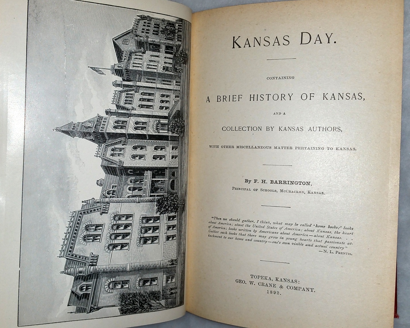 Image for Kansas Day.  Containing A Brief History of Kansas and a Collection By Kansas Authors, with Other Miscellaneous Matter Pertaining to Kansas