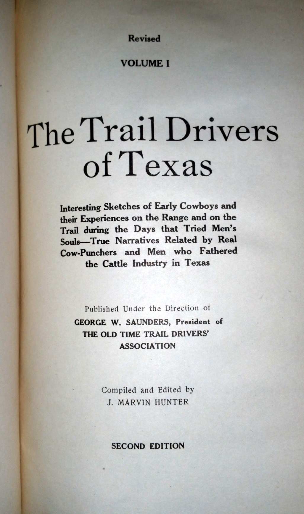Image for The Trail Drivers of Texas, Volume I