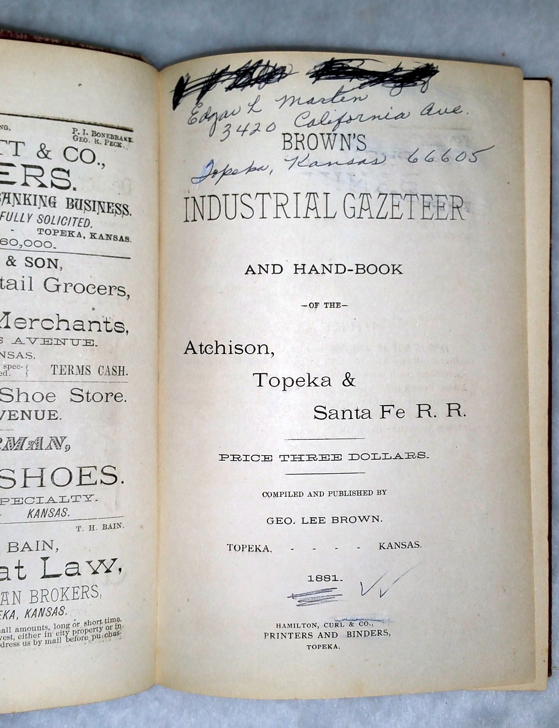 Image for Brown's Industrial Gazetteer and Hand-Book of the Atchison, Topeka & Santa Fe R. R.
