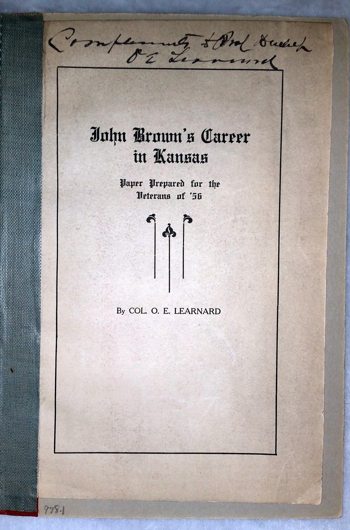 Image for John Brown's Career in Kansas:  Paper Prepared for the Veterans of '56