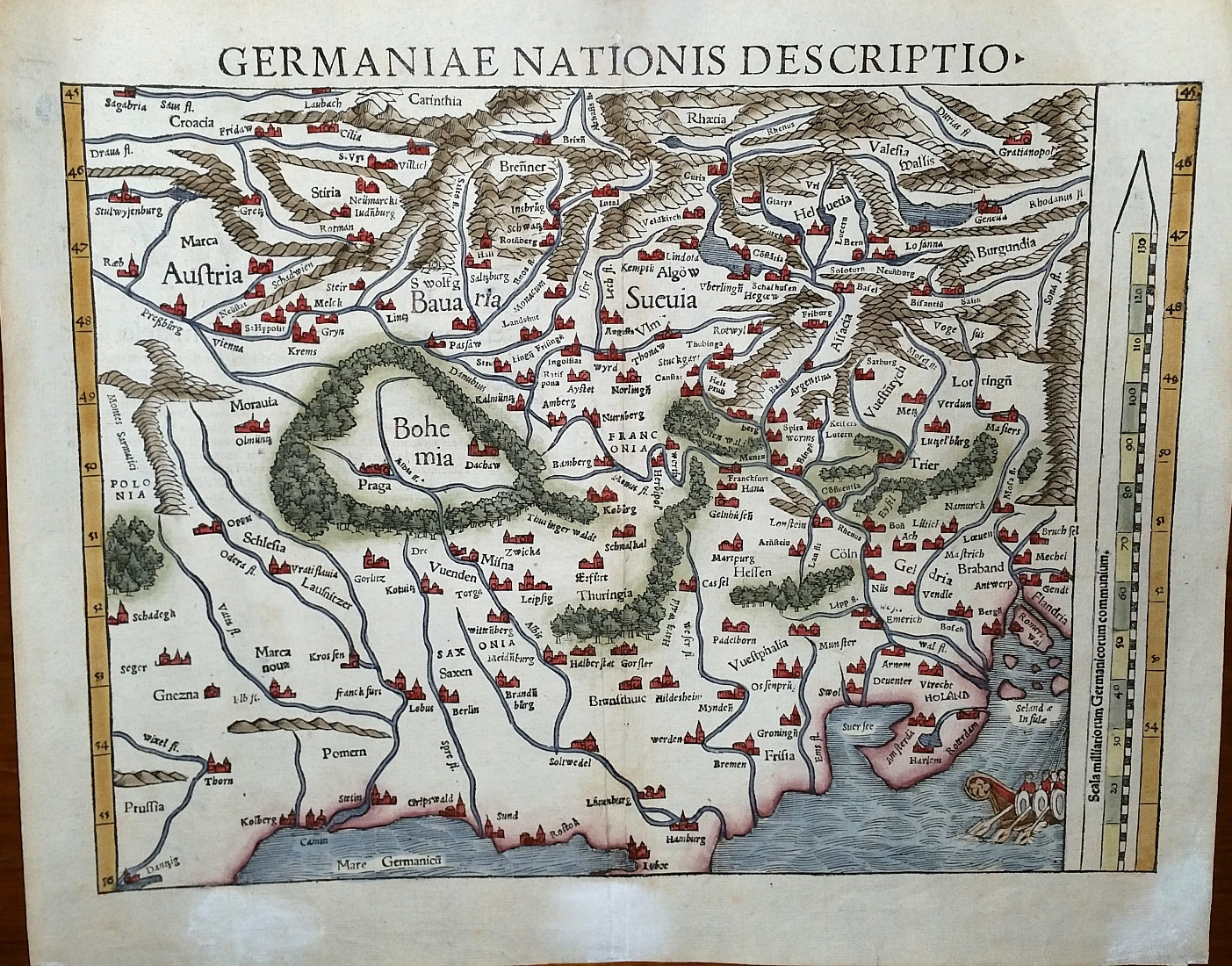 "Image for [Map]  ""Germaniae Nationis Descriptio,"" from Cosmographia Universalis (1559, Latin)"