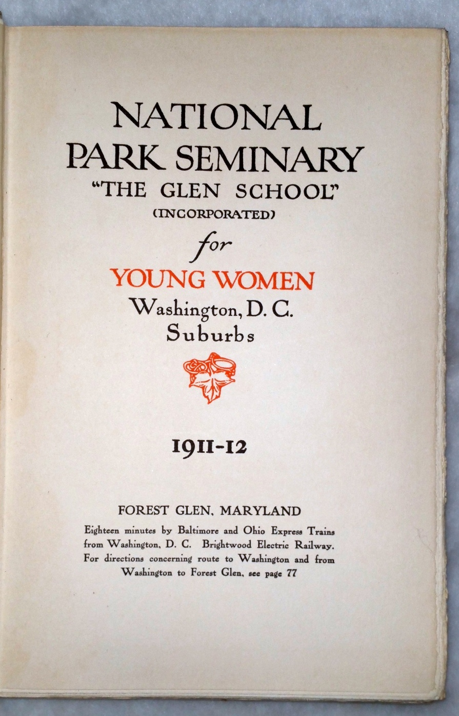 "Image for National Park Seminary ""The Glen School"" (Incorporated) for Young Women Washington, D.C. Suburbs, 1911-12"