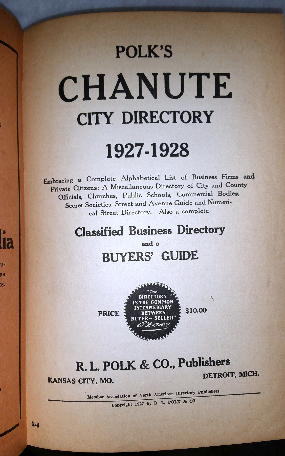 Image for Polk's Chanute City Directory 1927-1928...