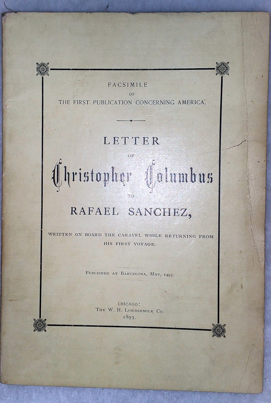 Image for Letter of Christopher Columbus to Rafael Sanchez