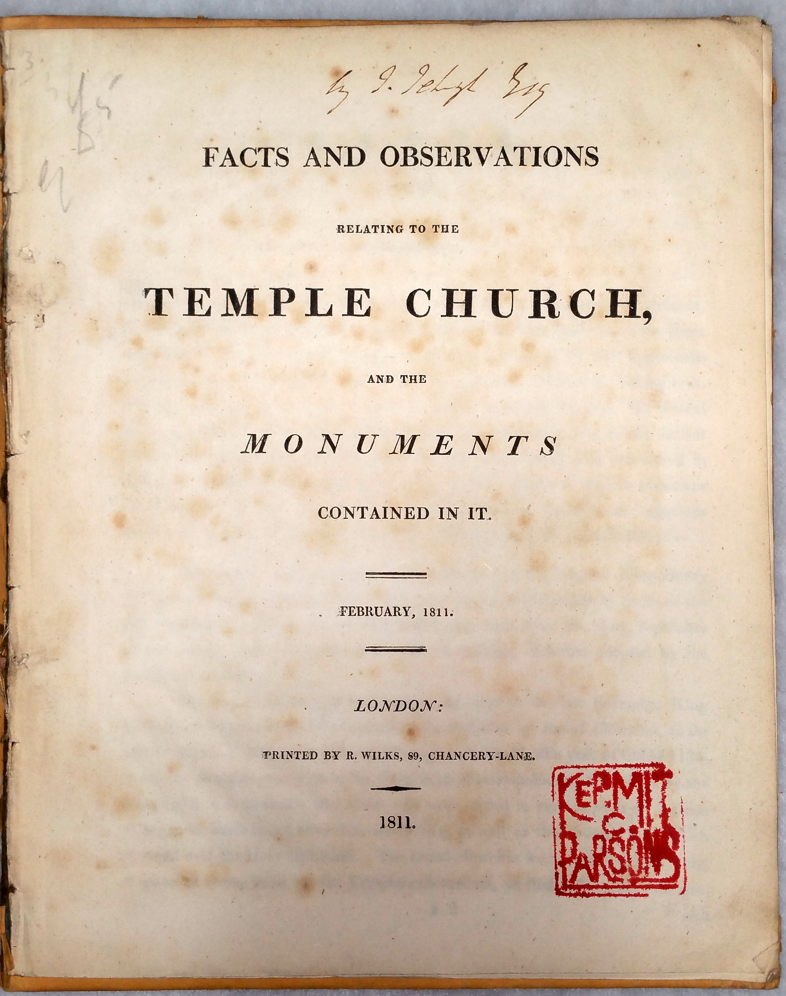 Image for Facts and Observations Relating to the Temple Church, and the Monuments Contained in It