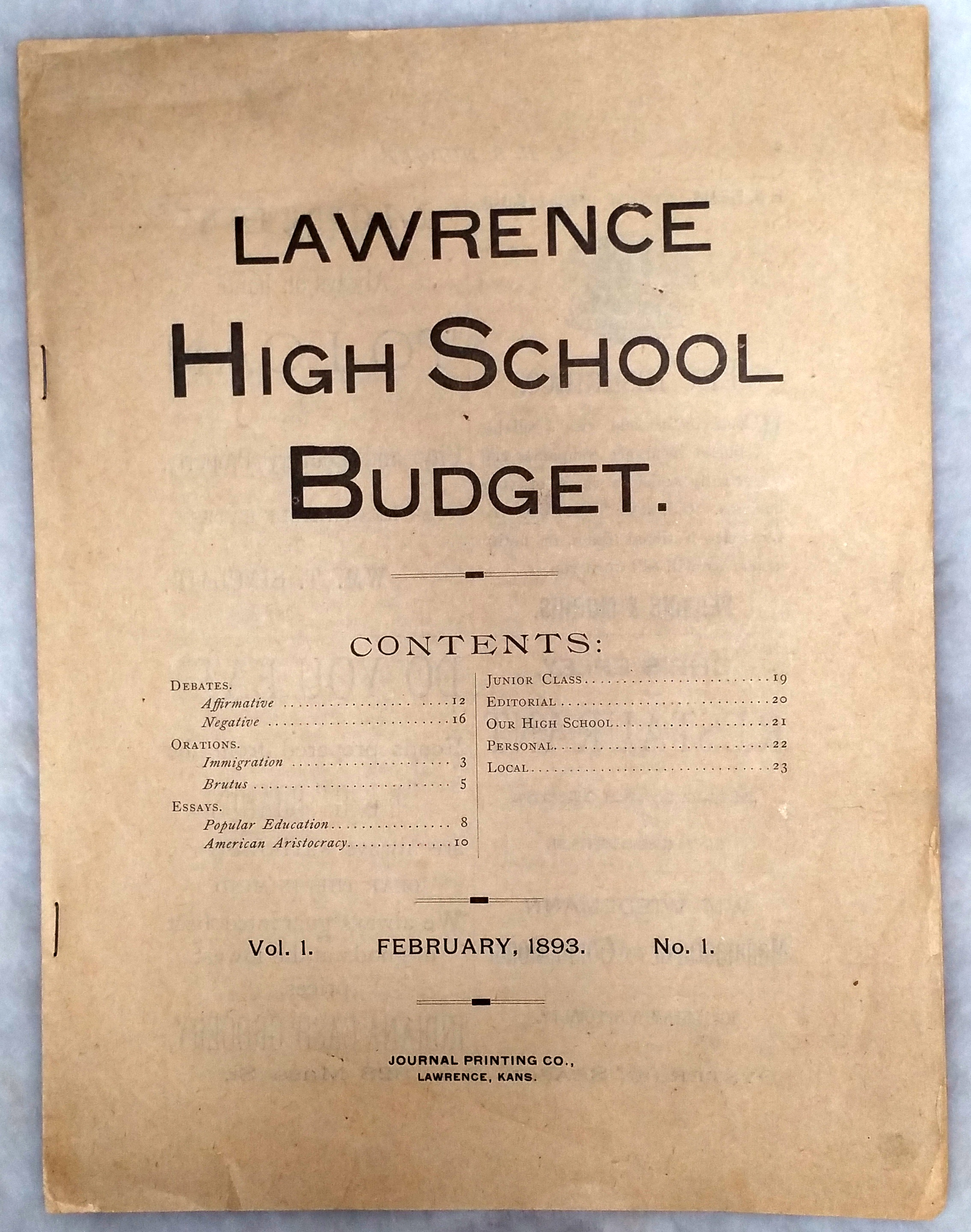 Image for L. H. S. [Lawrence High School] Budget, Vol. 1, No. 1, February 22, 1893