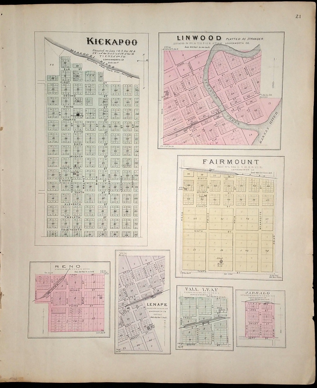 Image for [Map] Kickapoo, Linwood, Fairmount, Reno, Lenape, Fall Leaf, and Jarbalo (of Leavenworth County, Kansas) [backed with] Lansing and Progress, Easton, & Tonganoxie (of Leavenworth Co.), Severance (of Doniphan Co.), and Lecompton (of Douglas Co.)