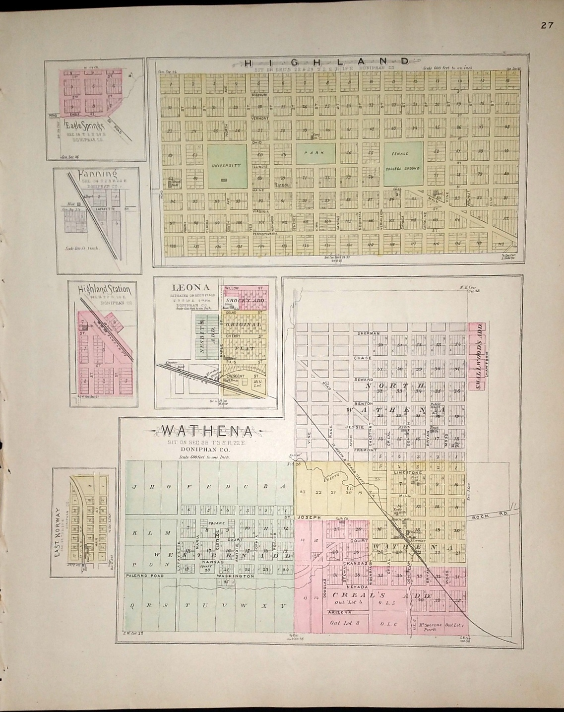 Image for [Map] Highland, Leona, Wathena, Eagle Springs, Hanning, Highland Station, & East Norway (of Doniphan County, Kansas) [backed with] Troy & Doniphan (of Doniphan Co.), Farmington, Parnell Sta., Huron, Cummings, Shannon, Larkin, & Monrovia (of Atchison Co.)