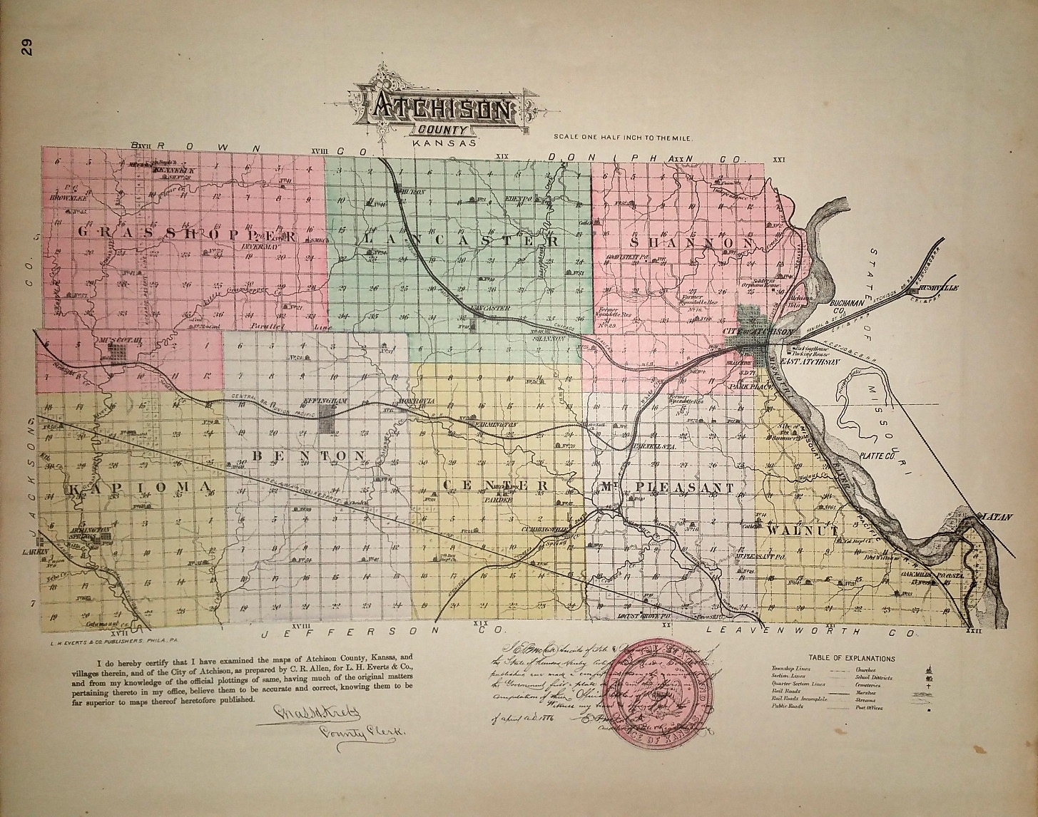 Image for [Map] Atchison County, Kansas [backed with] Effingham, Muscotah, & Lancaster (of Atchison Co.), Prescott, Trading Post, & Barnard (of Linn Co.)