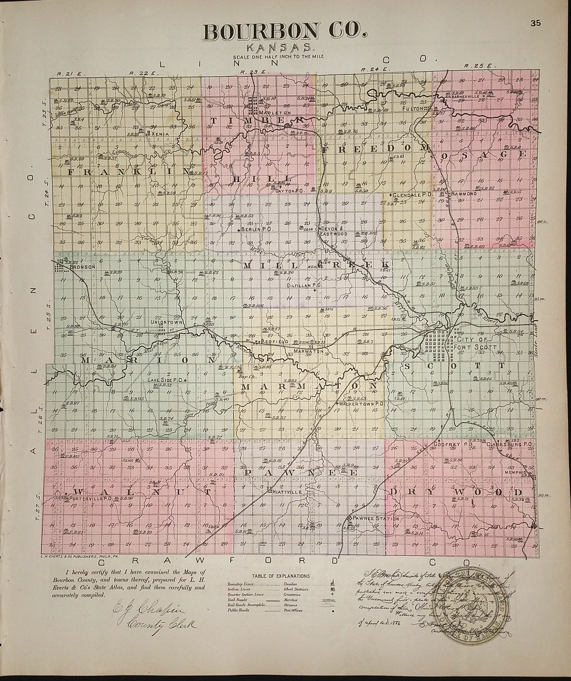 Image for [Map] Bourbon Co. [backed with] Memphis, Pawnee, Bronson, Redfield, & Xenia (of Bourbon County, Kansas0, Xenia, & McLouth (of Jefferson Co.)
