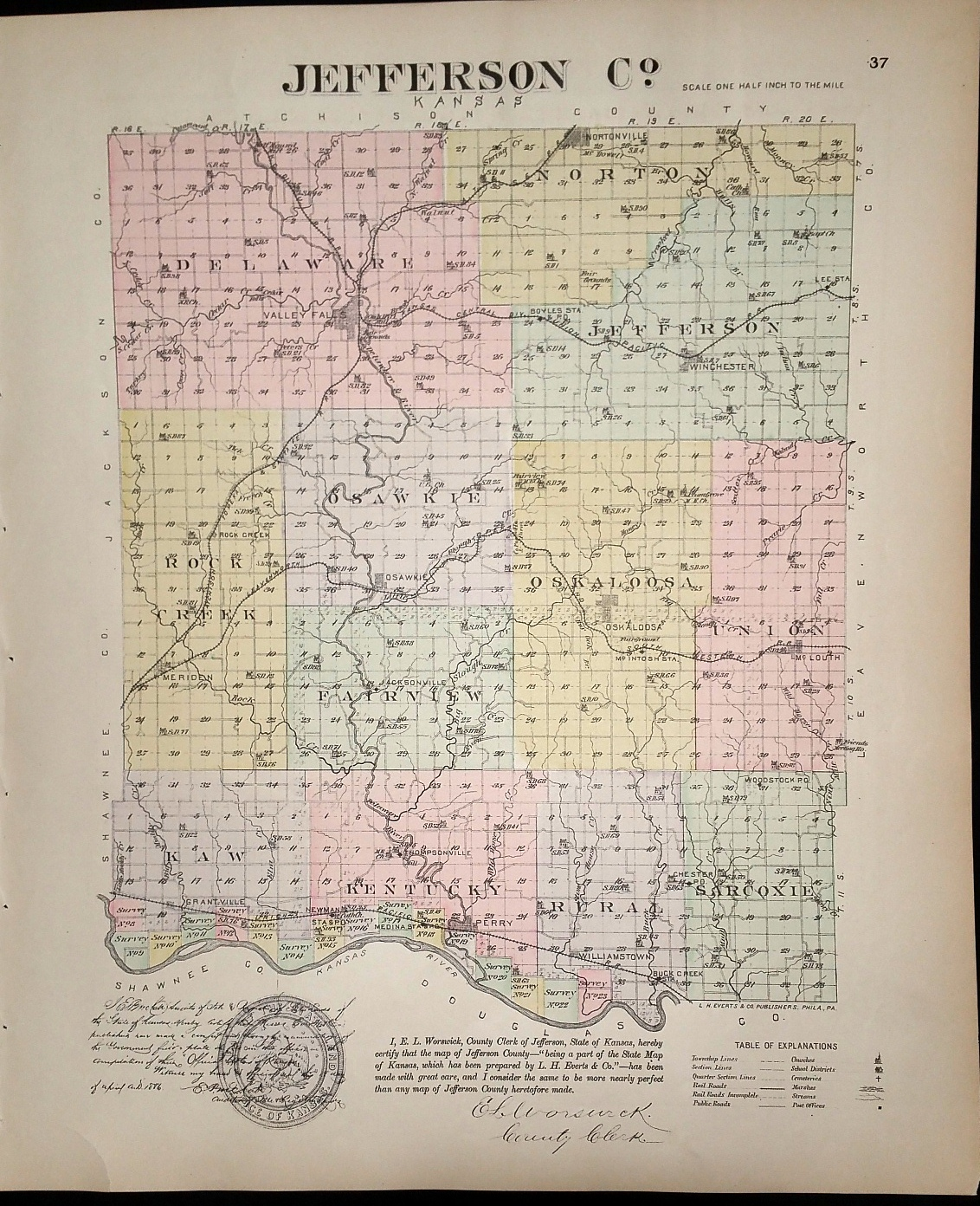 Image for [Map] Jefferson Co. [backed with] Nortonville, Winchester, Grantville, Osawkie, & Meriden (of Jefferson County, Kansas)