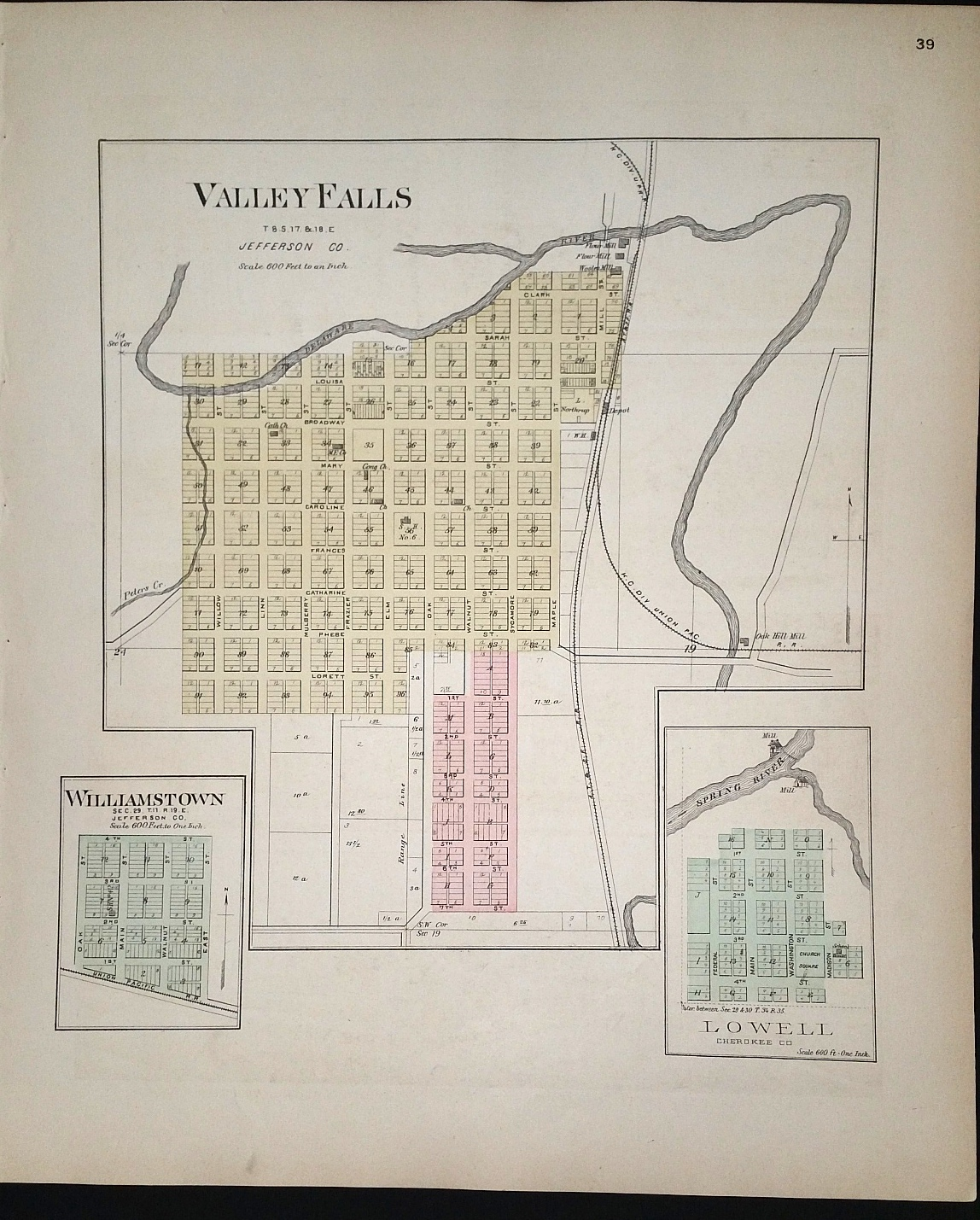 Image for [Map] Valley Falls, & Williamstown (of Jefferson County, Kansas), & Lowell (of Cherokee Co.) [backed with] Oskaloosa (of Jefferson Co.), Lea Walk, Bonanza, Sherman City, & Neutral (of Cherokee Co.)