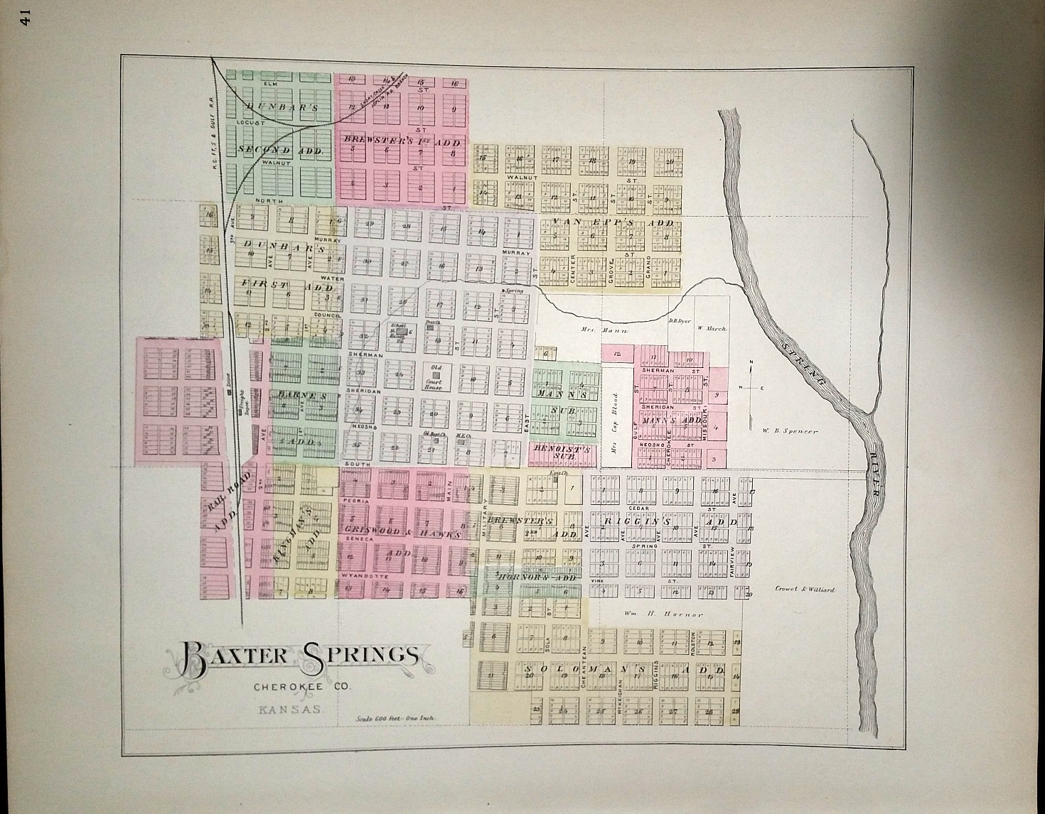 Image for [Map] Baxter Springs (of Cherokee County, Kansas)[ backed with] Galena, Scammonville, Corlin, Empire City, & Crestline (of Cherokee Co.)