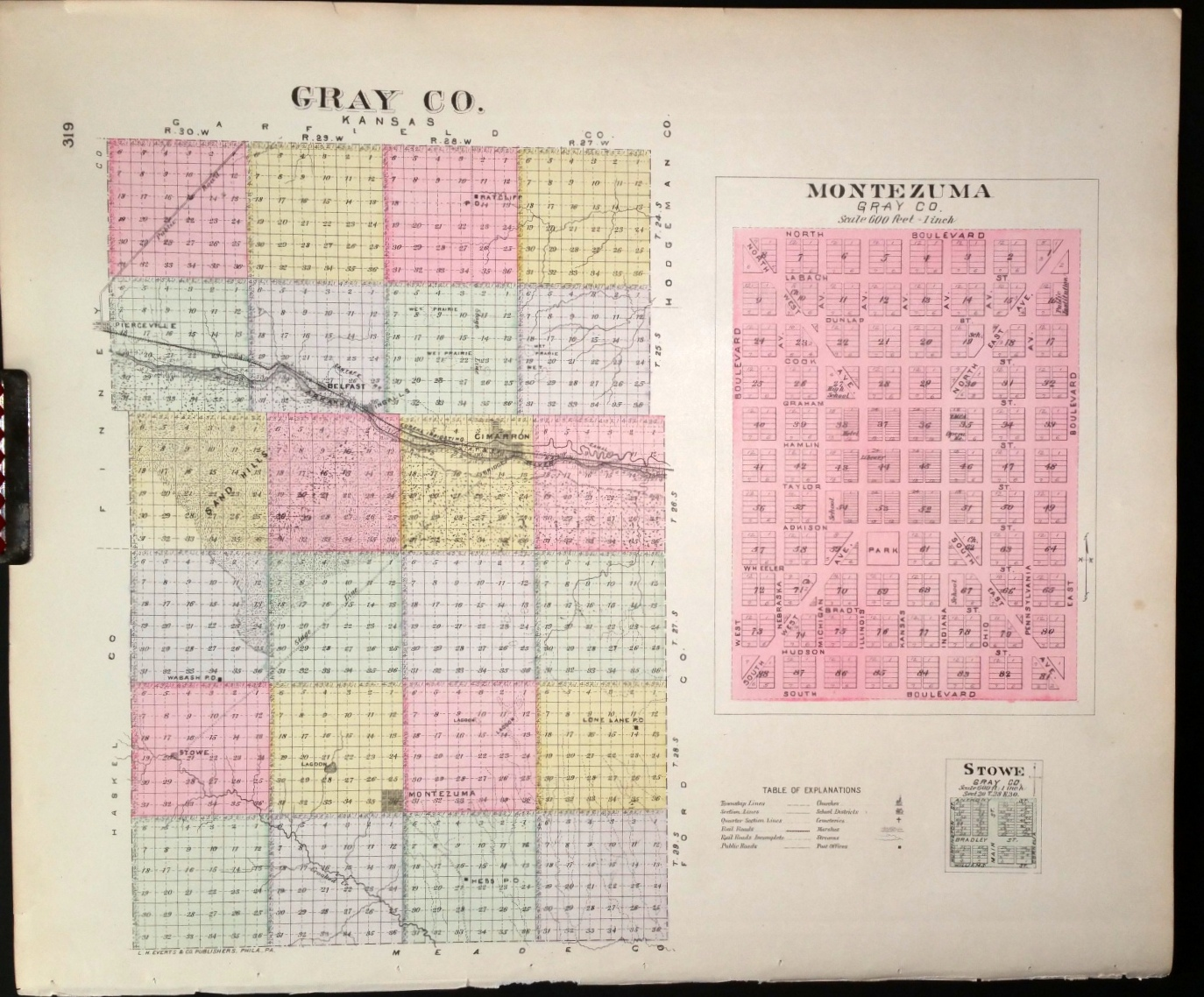 Image for [Map] Gray County, Kansas, Stowe, & Montezuma (of Gray Co.) [backed with] Cimarron, Gray Co.