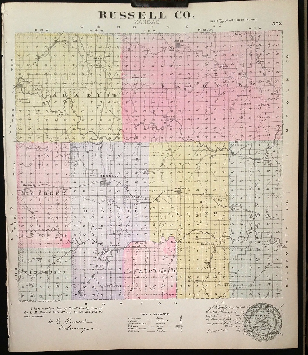 Image for [Map] Russell County, Kansas [backed with] Bunker Hill, Leeson, & Russell (of Russell Co.), and Reeder (of Kiowa Co.)