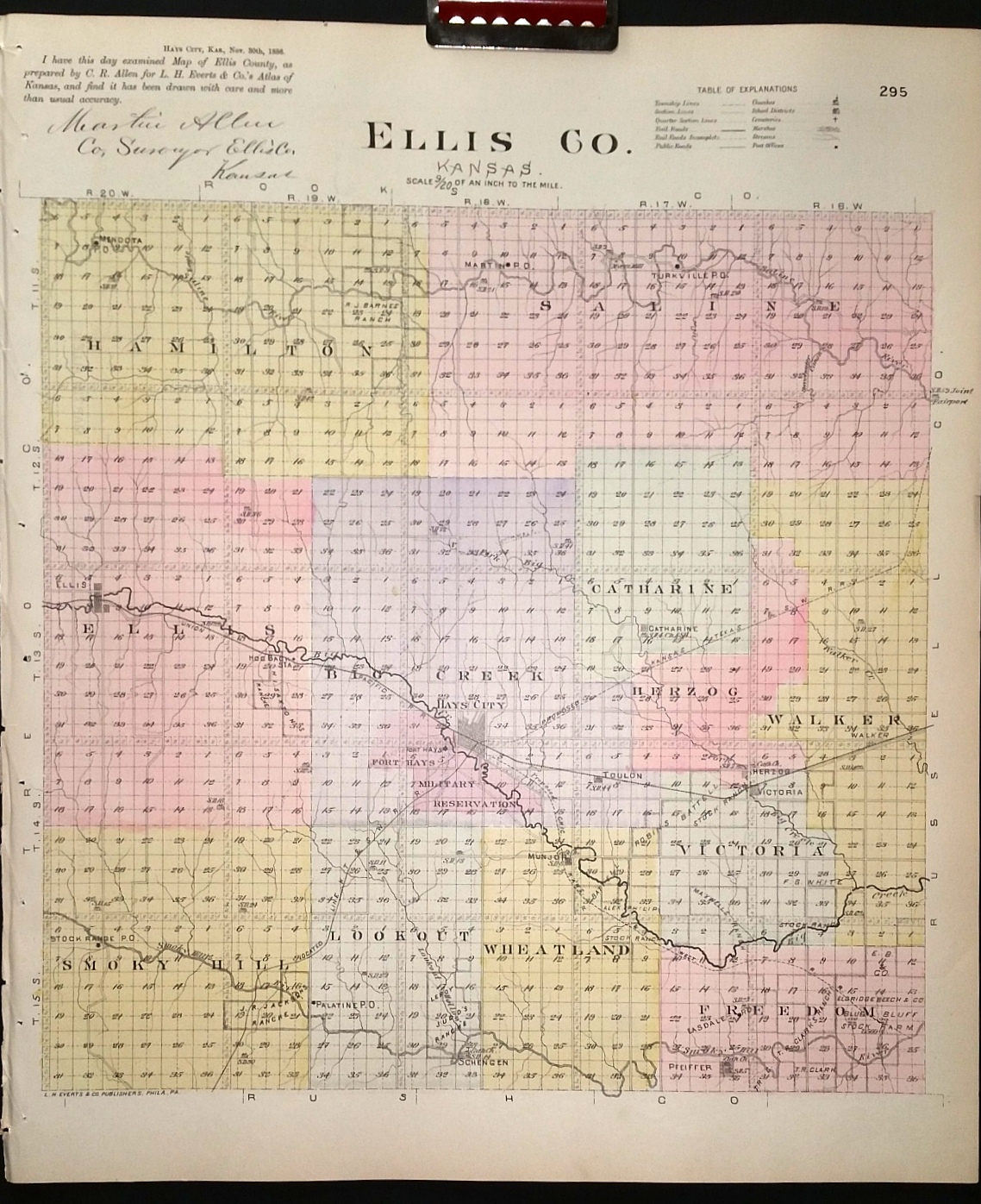 Image for [Map] Ellis County, Kansas [backed with]  Hays City (of Ellis Co.)