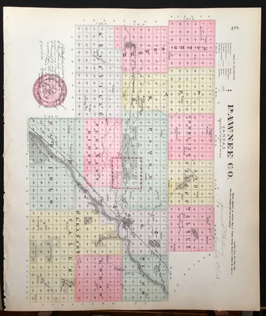 Image for [Map] Pawnee County, Kansas [backed with] Browns Grove, and Burdett (of Pawnee Co.)