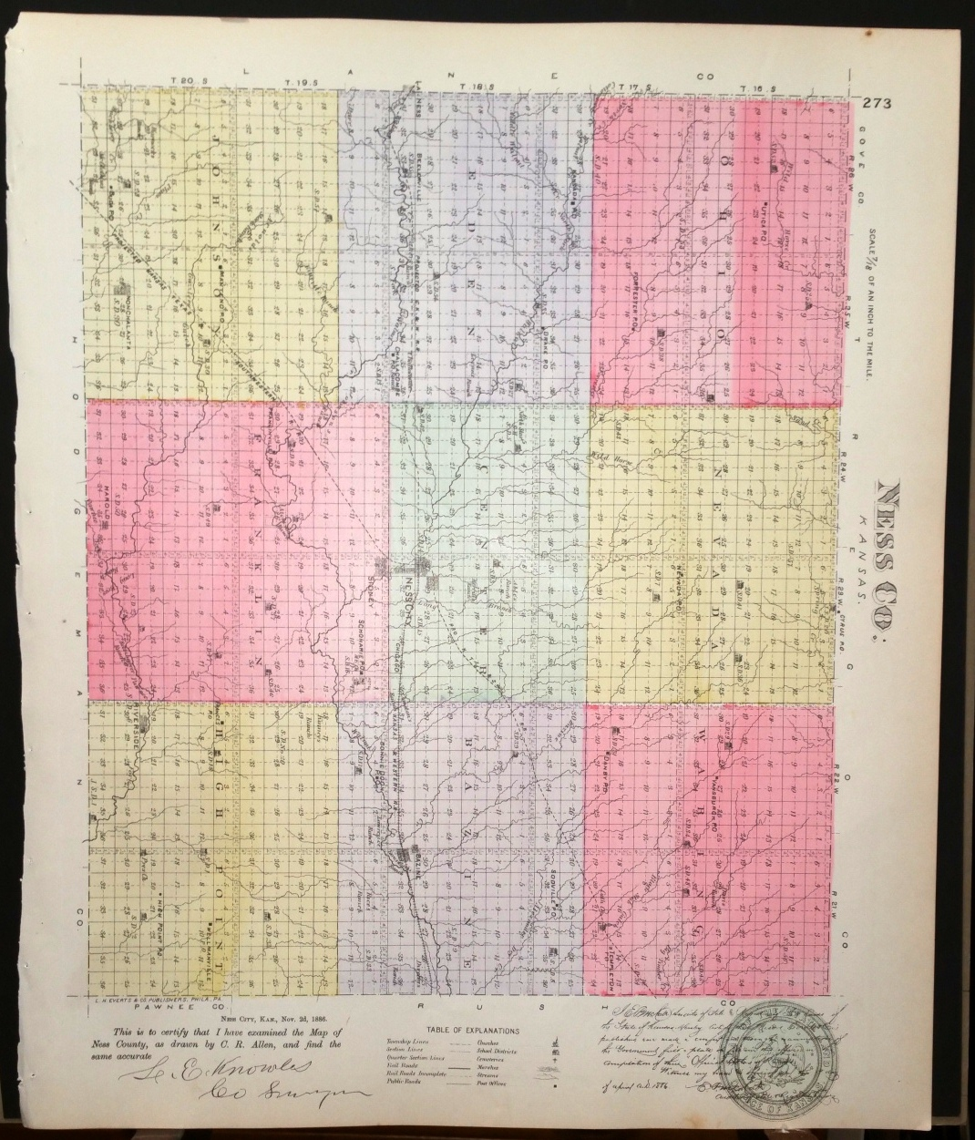 Image for [Map] Ness County, Kansas [backed with] Beelerville, Bazine, Harold, Nonchalanta, & Sidney (of Ness Co.)