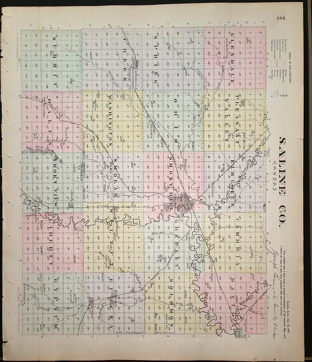 Image for [Map] Saline County, Kansas [backed with] Bennington, Delphos, Ada, Niles, Verdi, & Tescott (of Ottawa Co.), & Bridgeport (of Saline Co.)