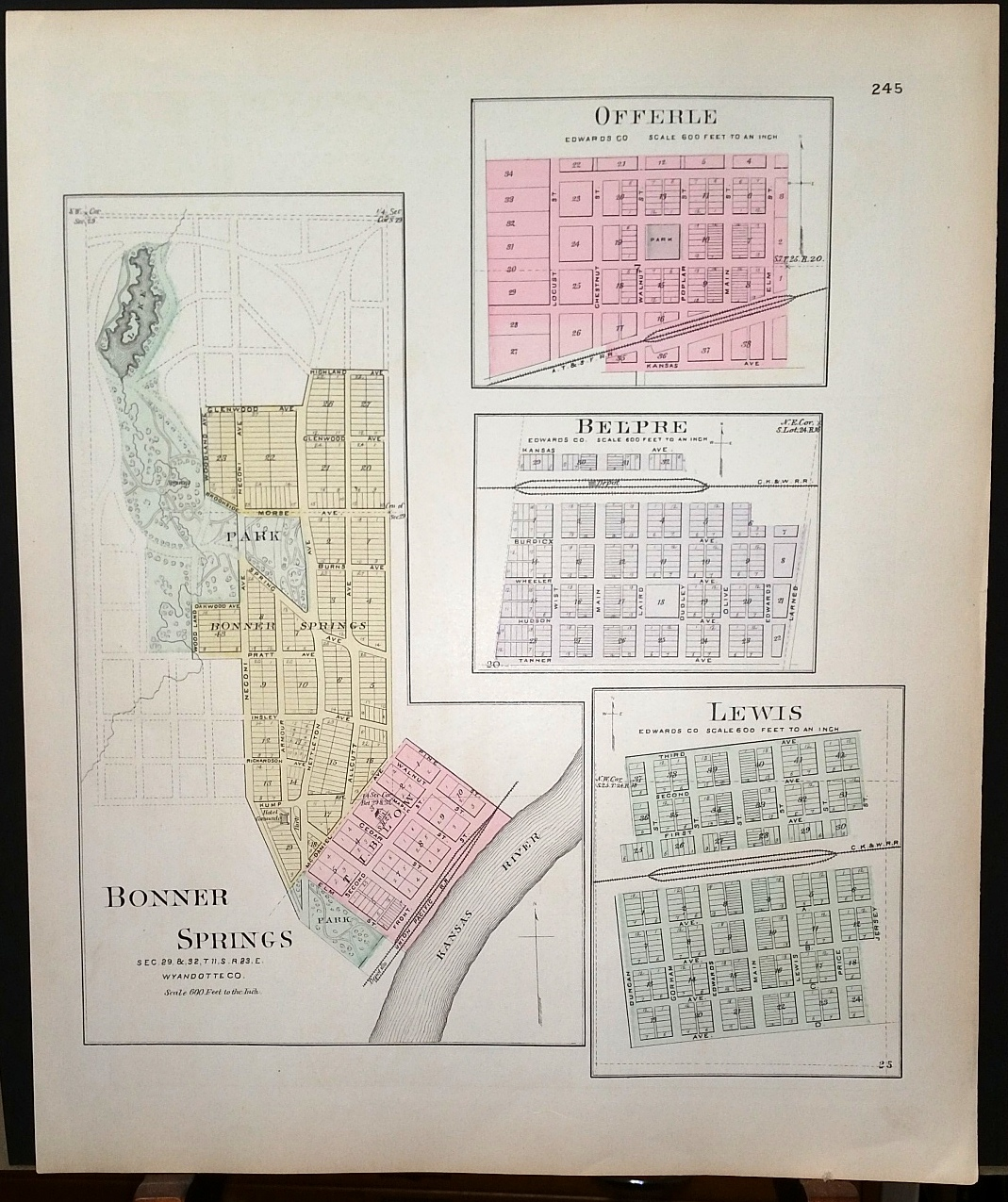 Image for [Map] Bonner Springs (of Wyandotte County, Kansas), Offerle, Belpre, & Lewis (of Edwards Co.) [backed with ] Edwards Co.