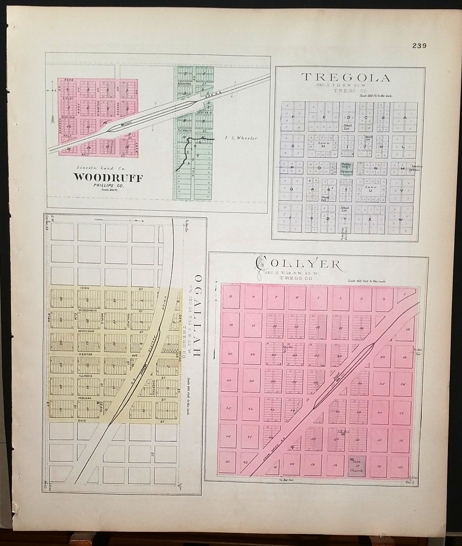 Image for [Map] Tregola, Collyer, Ogalla (of Trego County, Kansas), & Woodruff (of Phillips Co.) [backed with ] Wa-Keeney [Wakeeney] (of Trego Co.)