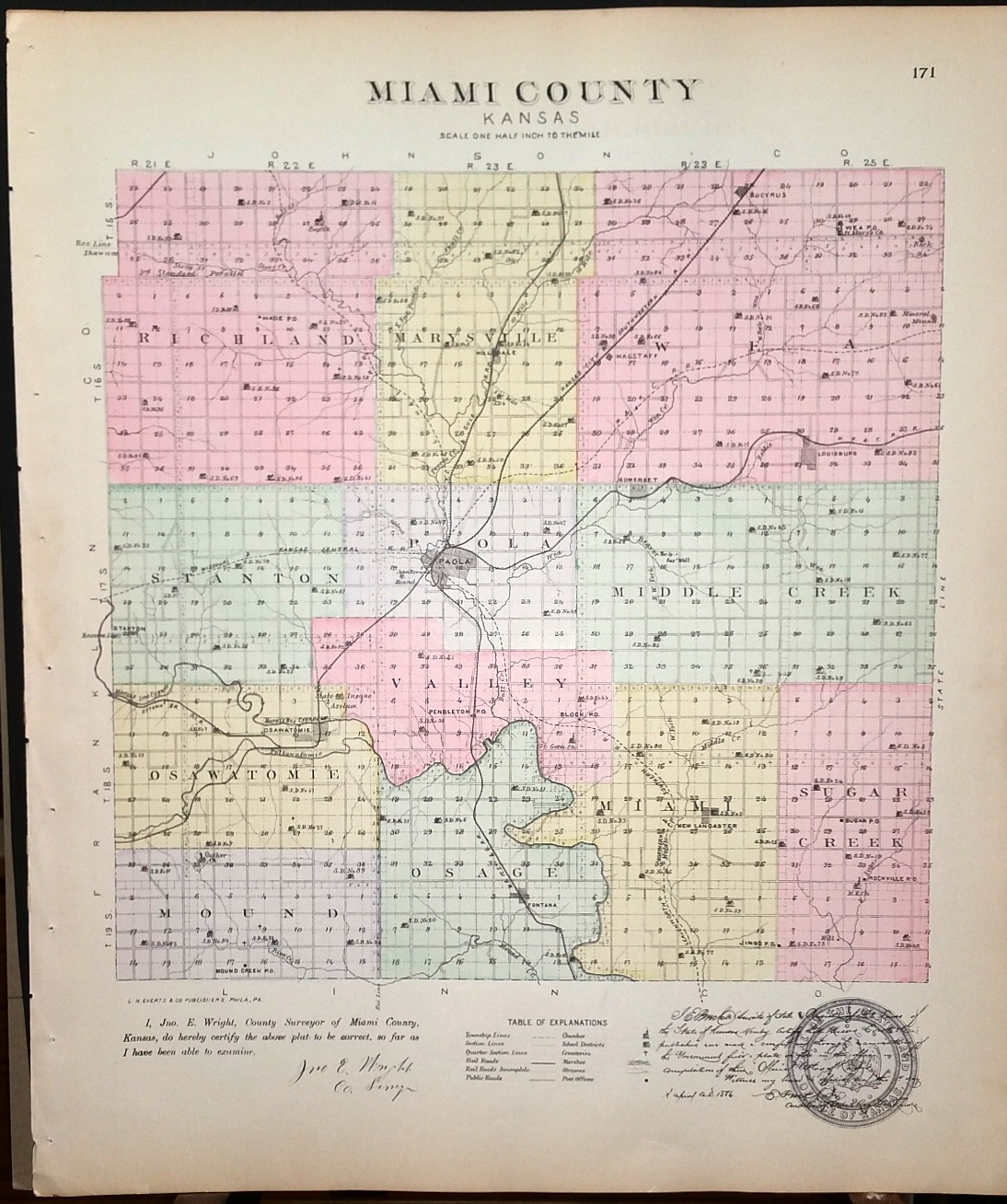 Image for [Map] Miami County, Kansas [backed with] City of Paola (Miami Co.)