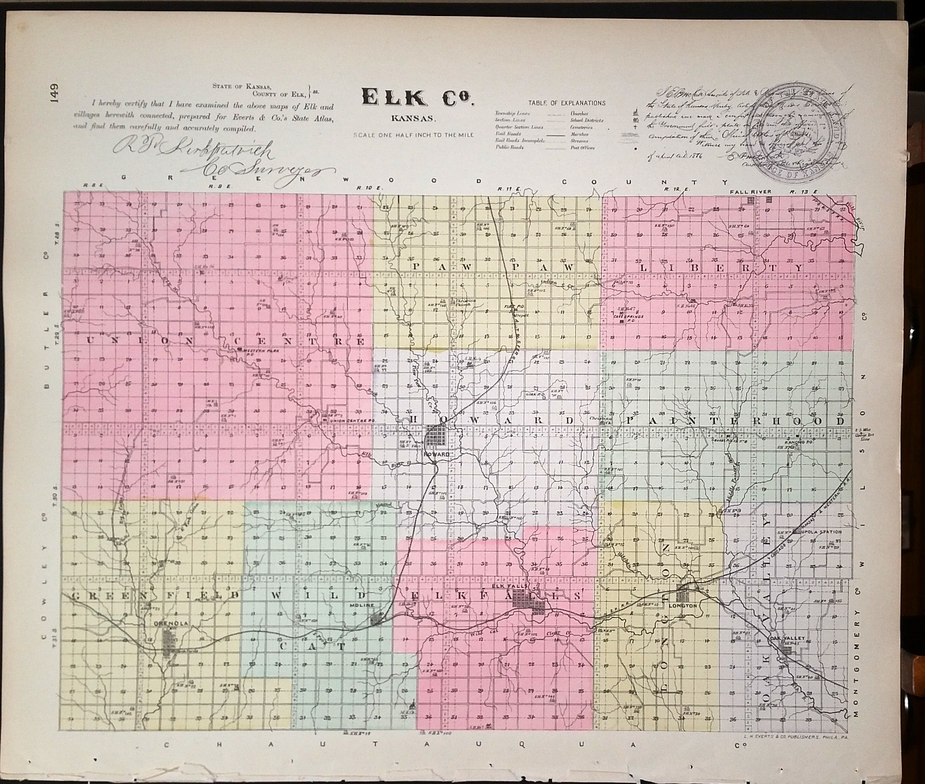 Image for [Map] Elk County, Kansas [backed with] Elk Falls, Longton, & Oak-Valley (of Elk Co.)