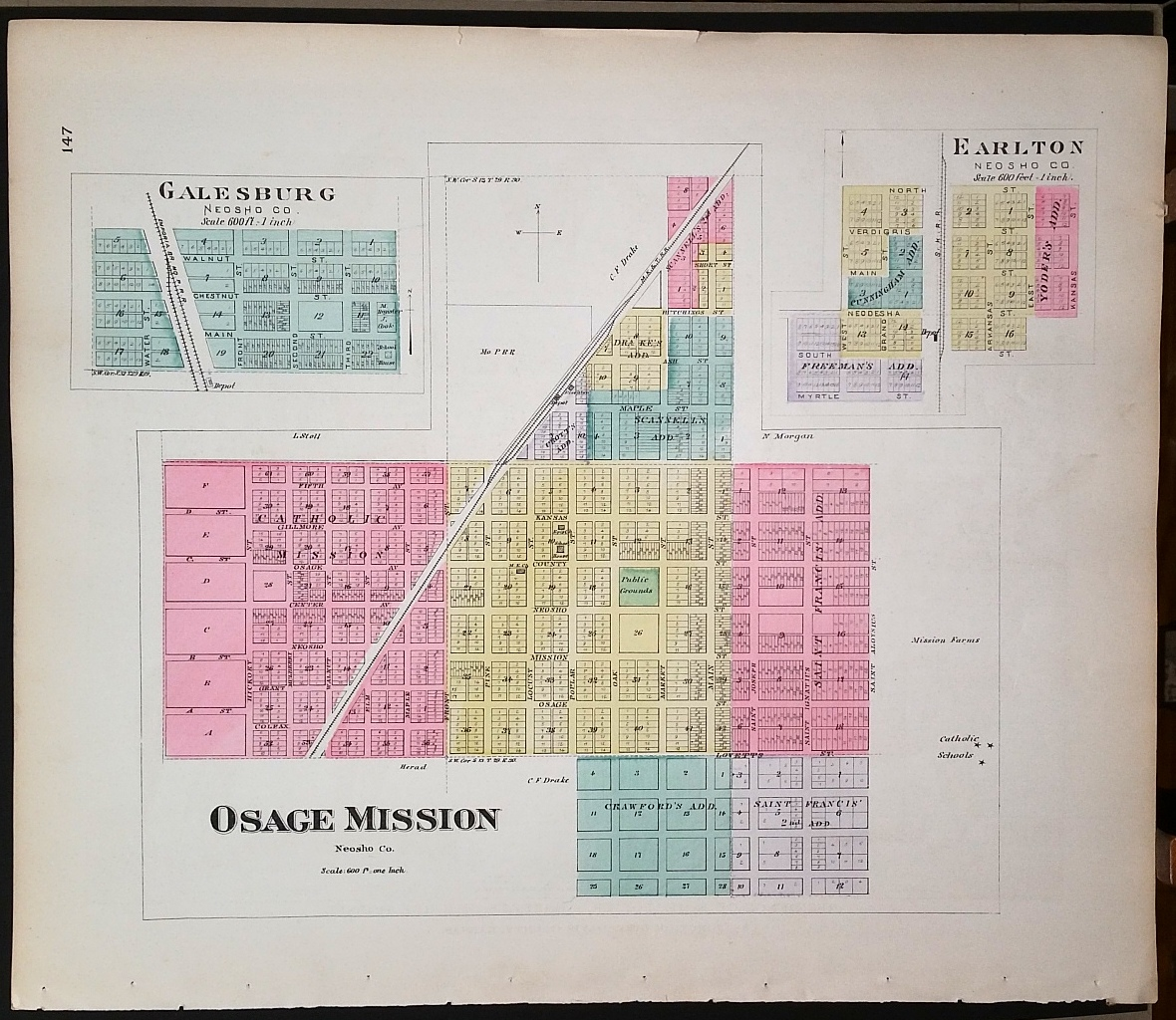 Image for [Map] Osage Mission, Galesburg, & Earlton (of Neosho County, Kansas) [backed with ] Erie Thayer, & Urbana (of Neosho Co.)