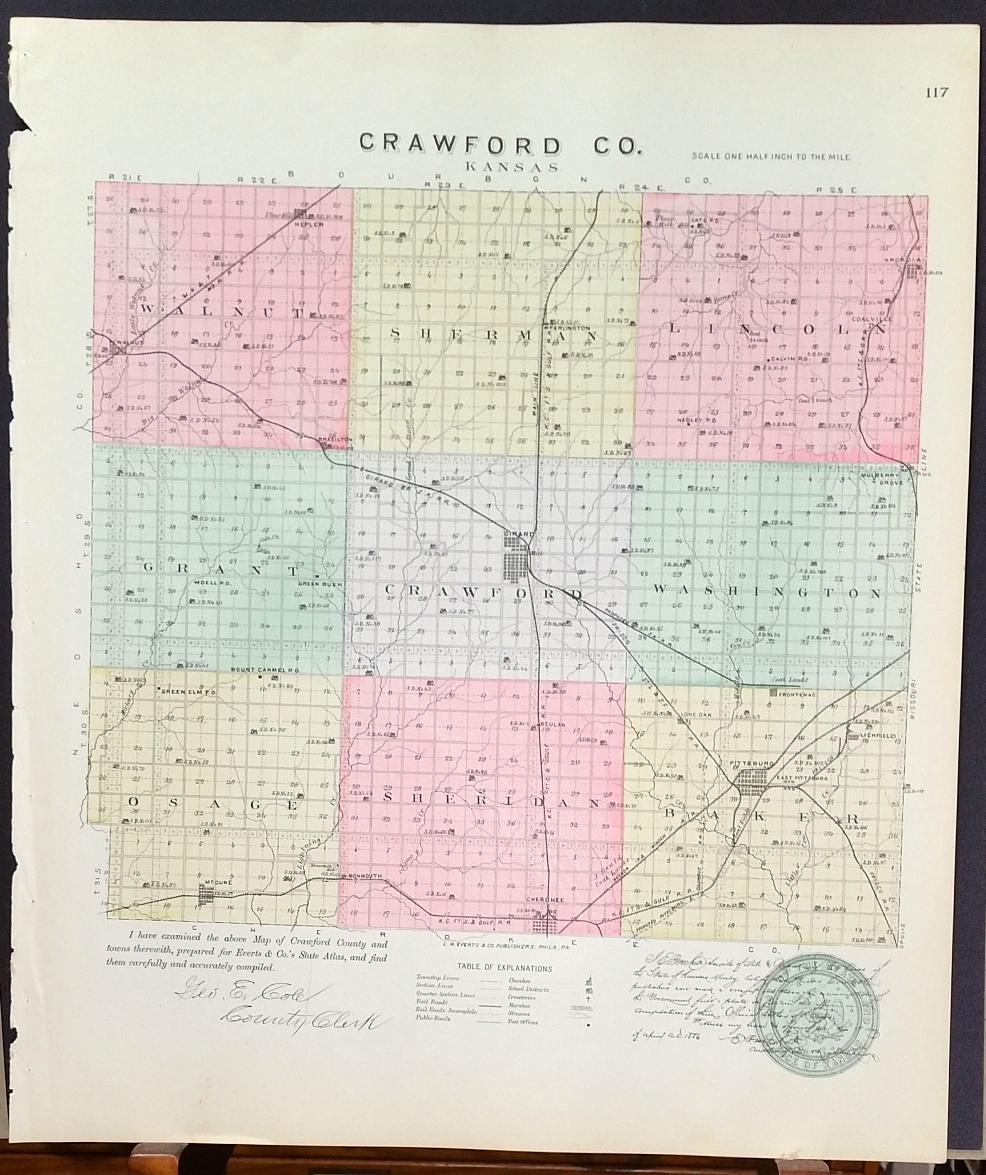 Image for [Map] Crawford County, Kansas [backed with] Girard (of Crawford Co.)