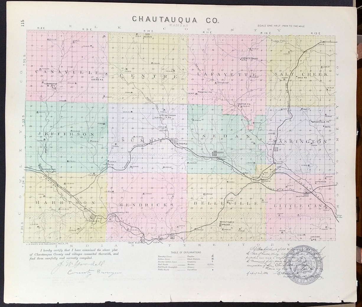 Image for [Map] Chautauqua County, Kansas [backed with] Sedan, Cloverdale (of Chautauqua Co.), Farlington, & Hepler (of Crawford Co.)