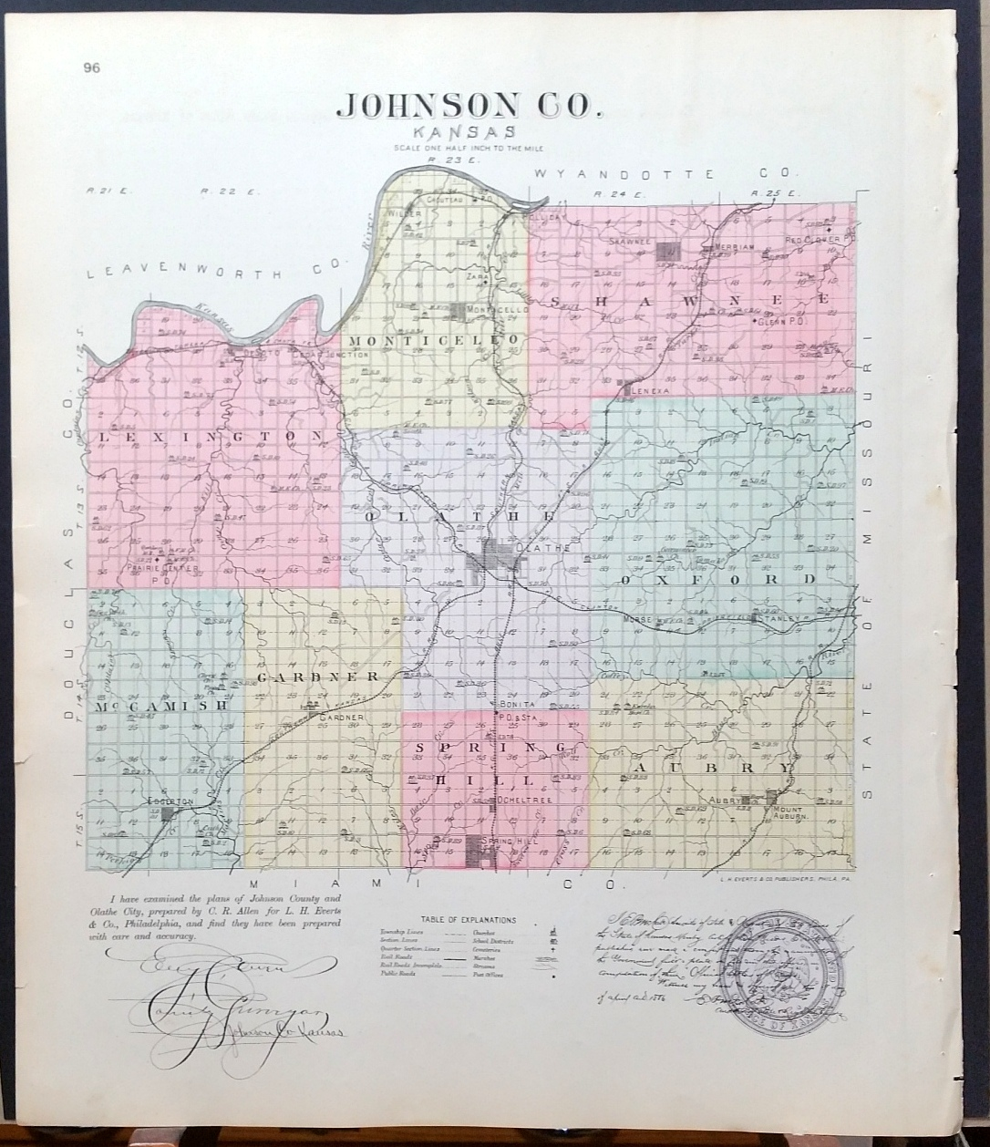 Image for [Map] New Kiowa, Sun City (of Barber County, Kansas), Stanley, Holliday, Morse, & Lenexa (of Johnson Co.) [backed with] Johnson Co.