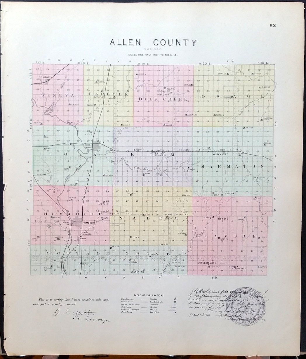 Image for [Map] Allen County, Kansas [backed with] Humboldt, La Harp, & Moran City (of Allen Co.)