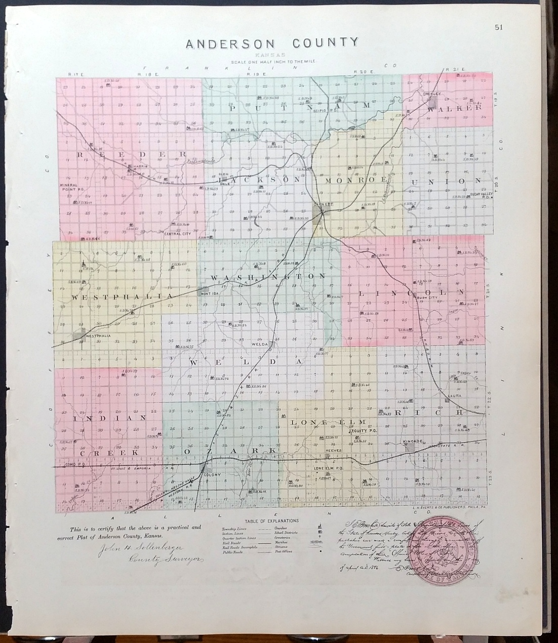 Image for [Map] Anderson County, Kansas [backed with] Colony, Mont Ida, Welda, Kincade, Westphalia, & Greeley (of Anderson Co.)