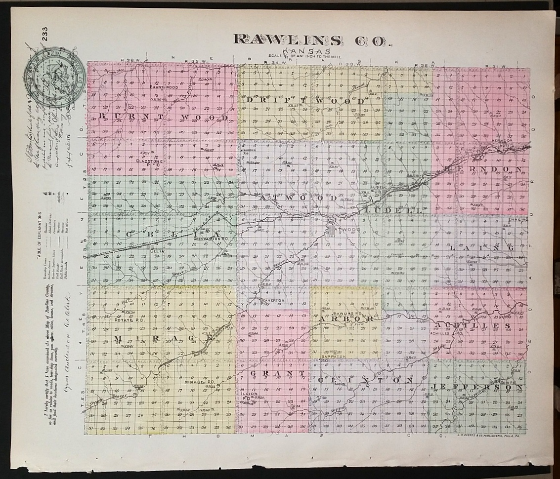 Image for [Map] Rawlins County, Kansas [backed with] Atwood, Celia, Ludell (Rawlins Co.), Millbrook, Roscoe, & Gettysburg (Graham Co.)