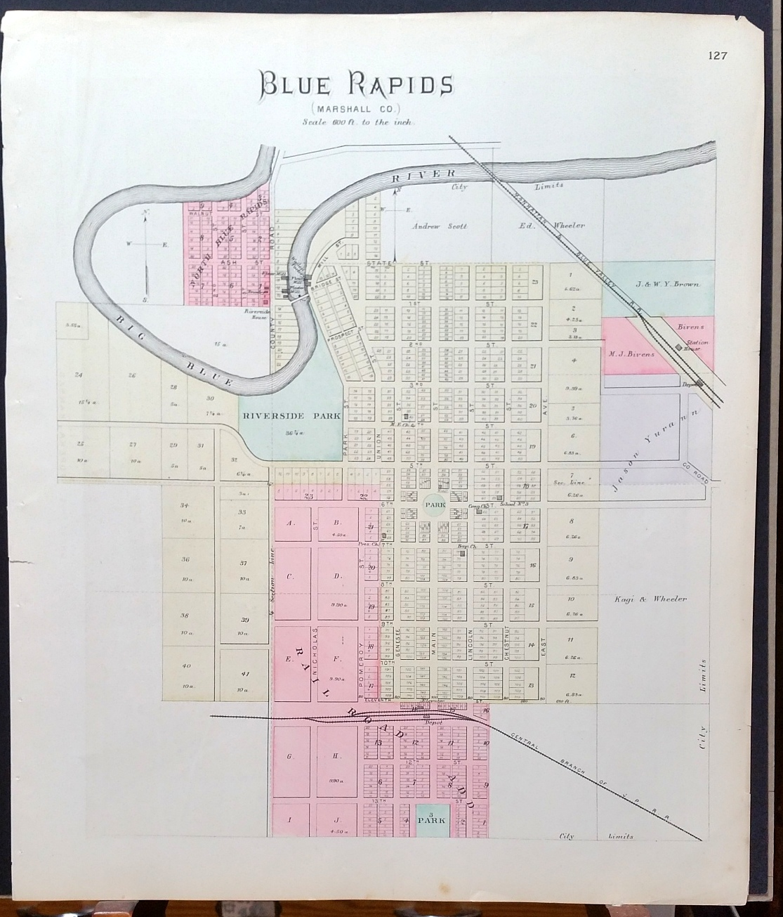 Image for [Map] Blue Rapids (Marshall County, Kansas) [backed with] Auburn, Silver Lake, Kilmer, Richland, Rossville, & Kingston (of Shawnee County)