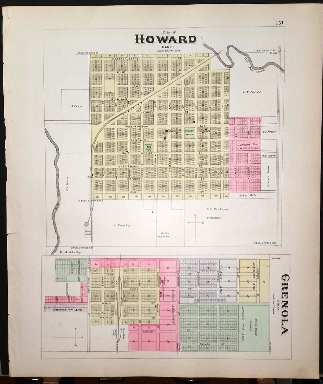 Image for [Map] Howard & Grenola (Elk County, Kansas) [backed with] Moline (Elk Co.), Circleville, Netawaka, Tippinville, & Soldier (Jackson Co.)