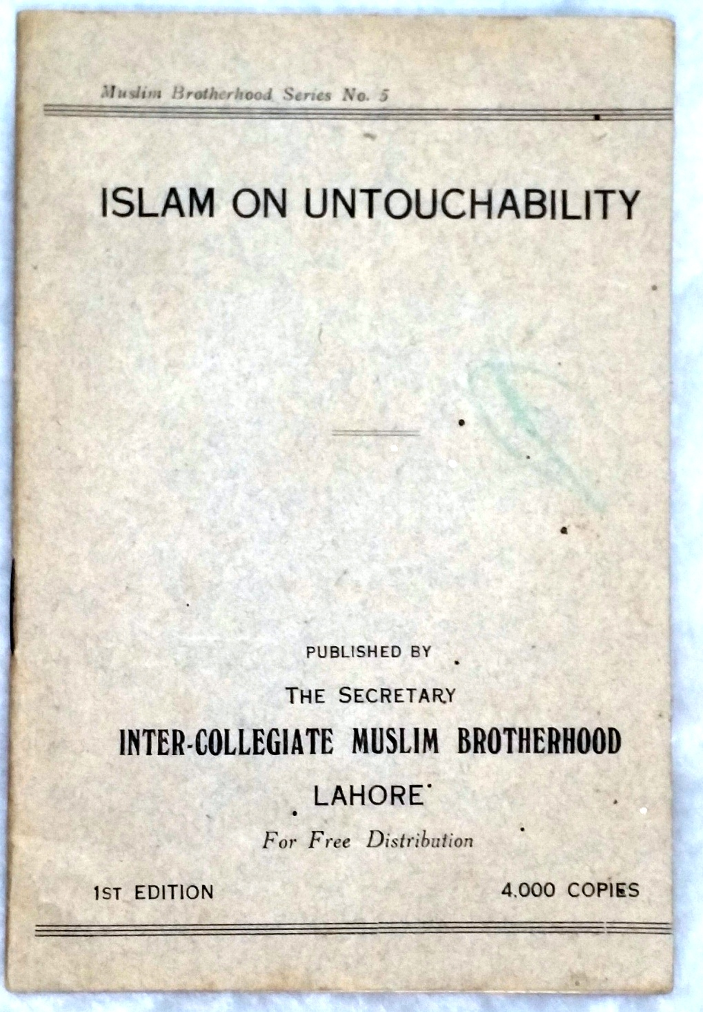 Image for Islam on Untouchability (Muslim Brotherhood Series No. 5)