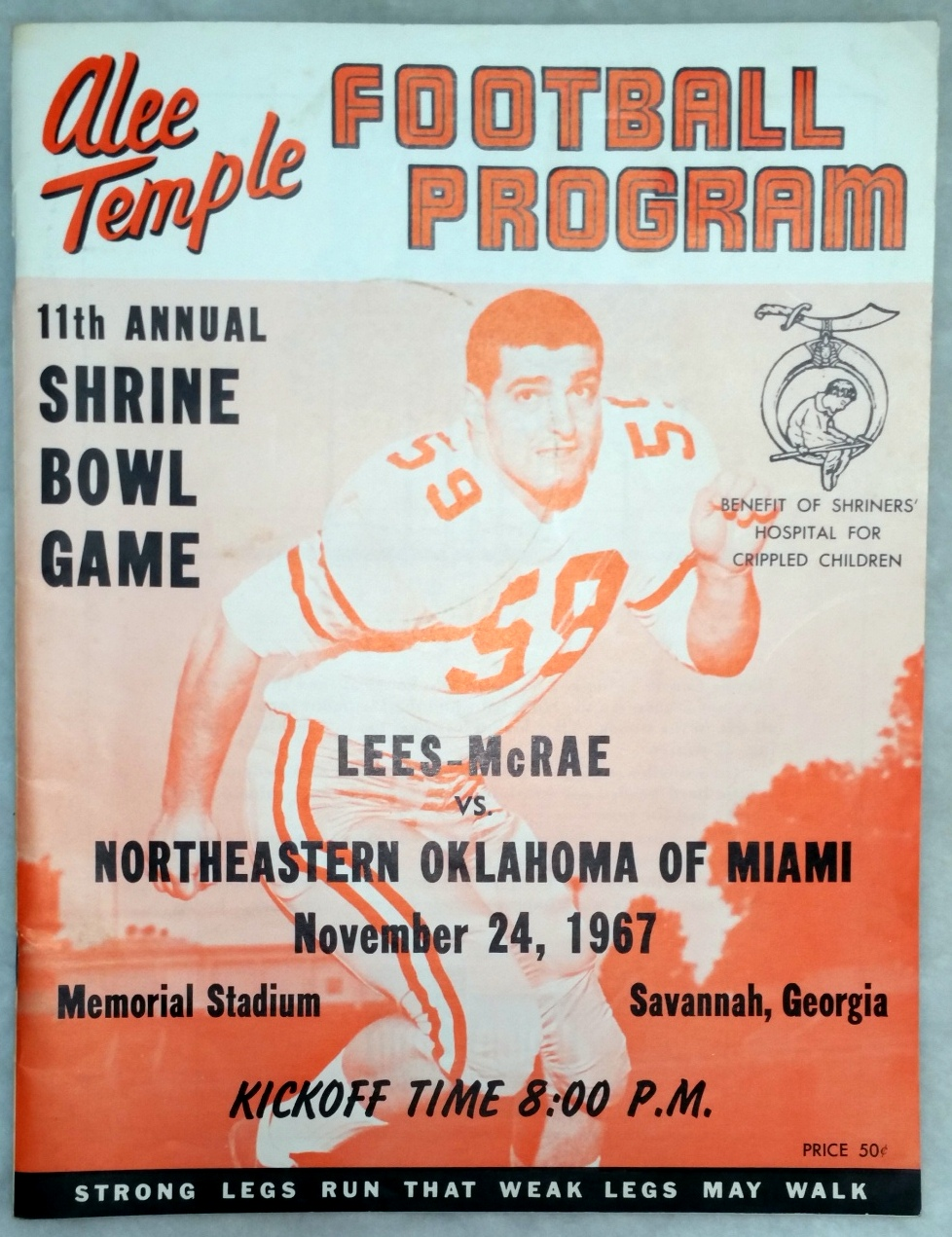 Image for 11th Annual Shrine Bowl Game:  Lees-McRae Vs. Northeastern Oklahoma of Miami, November 24, 1967, Memorial Stadium, Savannah, Georgia (Football Program)