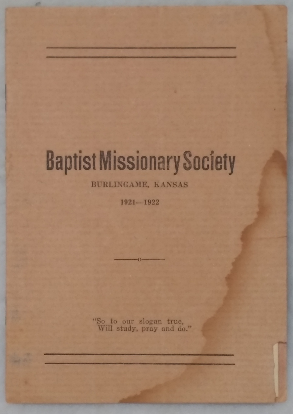 Image for Baptist Missionary Society, Burlingame, Kansas 1921-1922