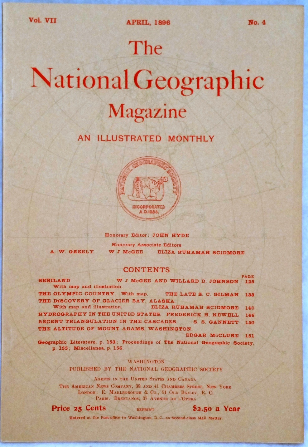 Image for The National Geographic Magazine, Vol VII. No. 4, April, 1896