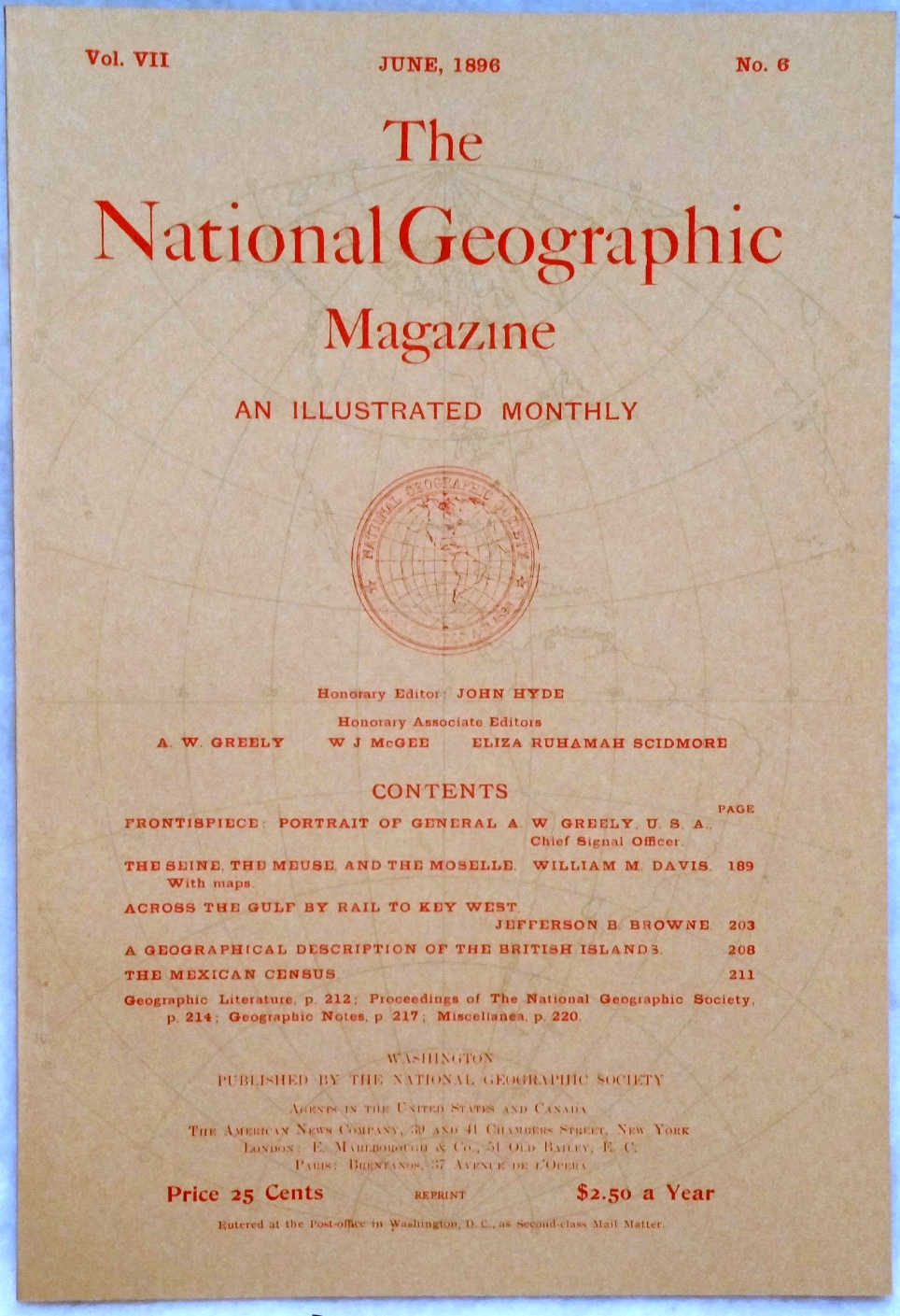 Image for The National Geographic Magazine, Vol VII. No. 6, June, 1896