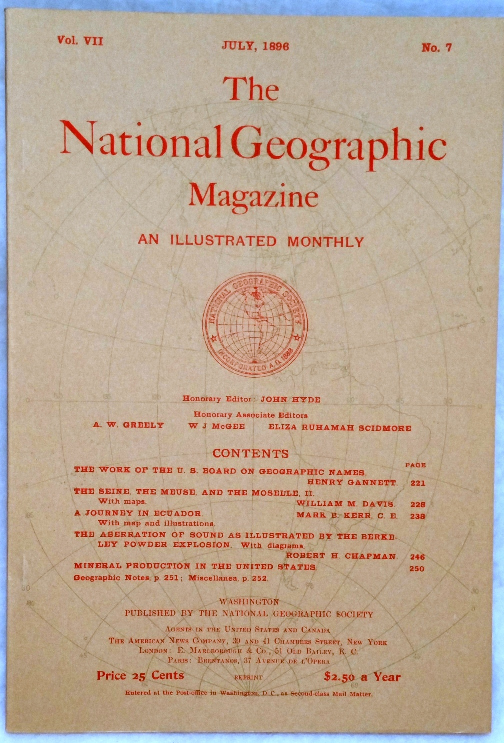 Image for The National Geographic Magazine, Vol VII. No. 7, July, 1896
