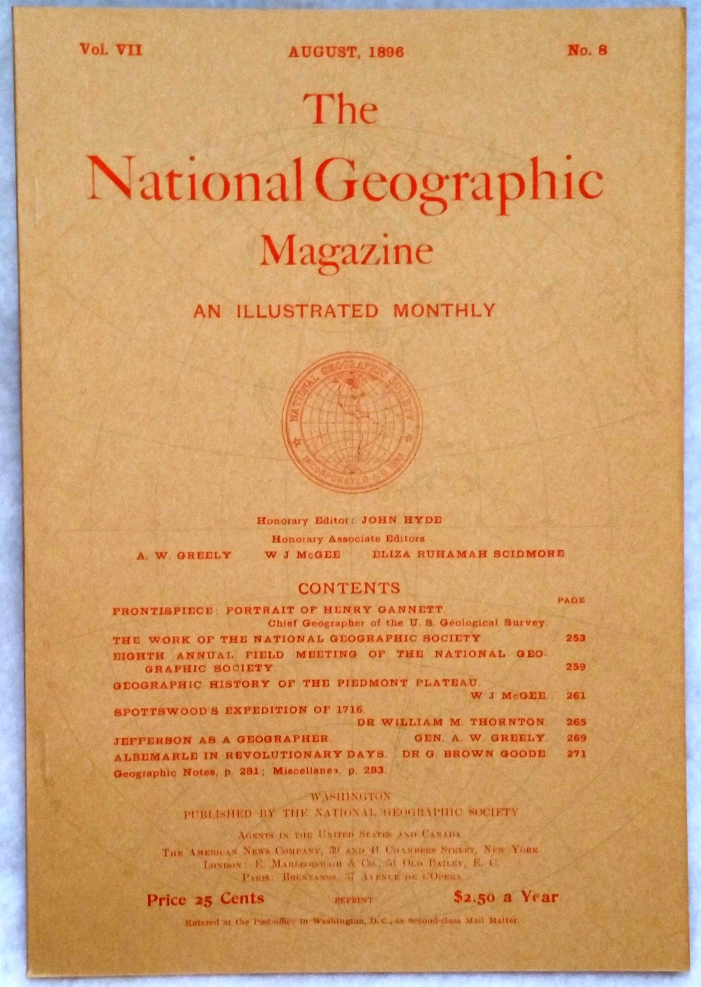 Image for The National Geographic Magazine, Vol VII. No. 8, August, 1896
