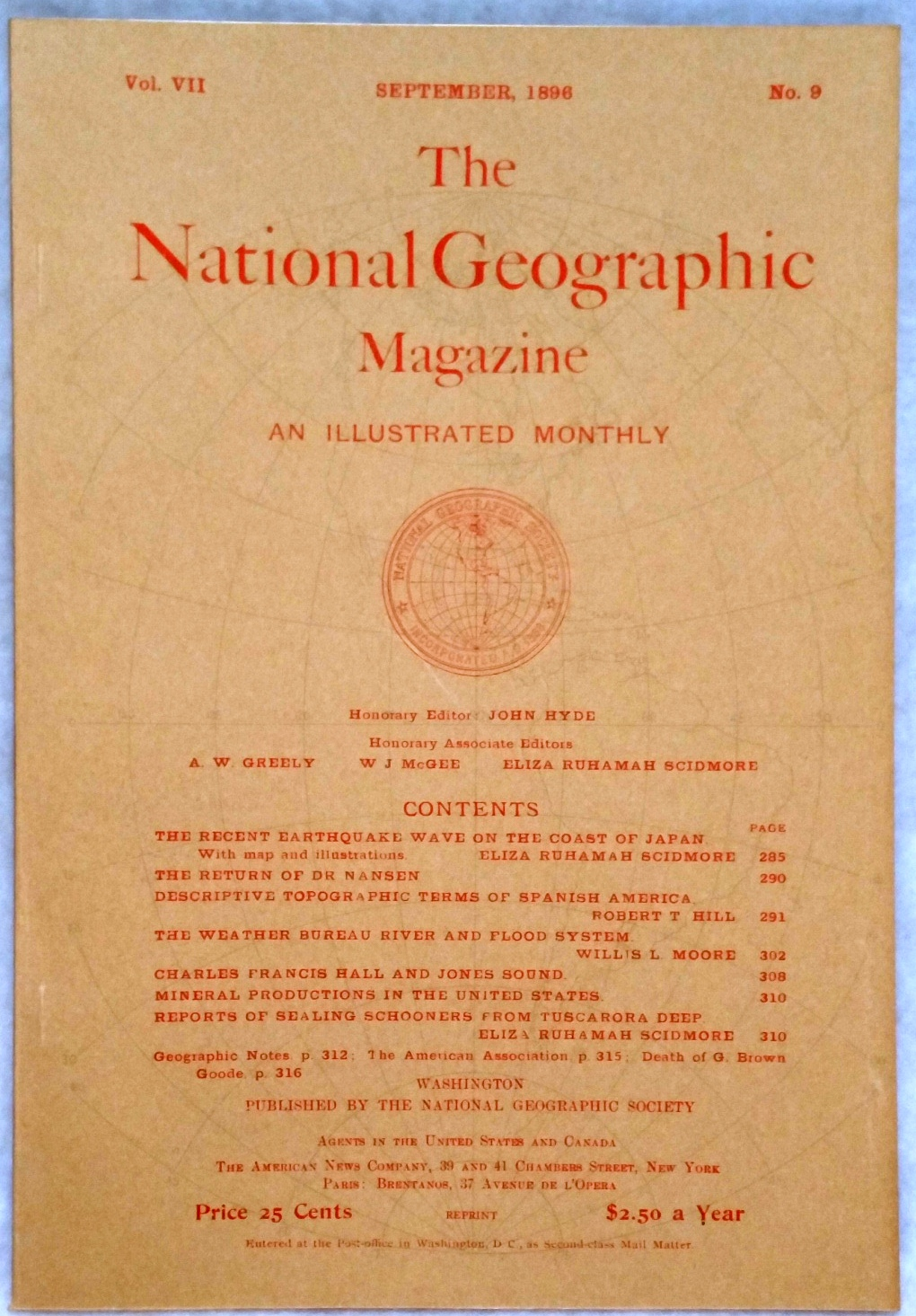 Image for The National Geographic Magazine, Vol VII. No. 9, September, 1896