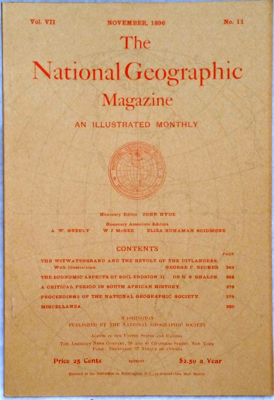 Image for The National Geographic Magazine, Vol VII. No. 11, November, 1896