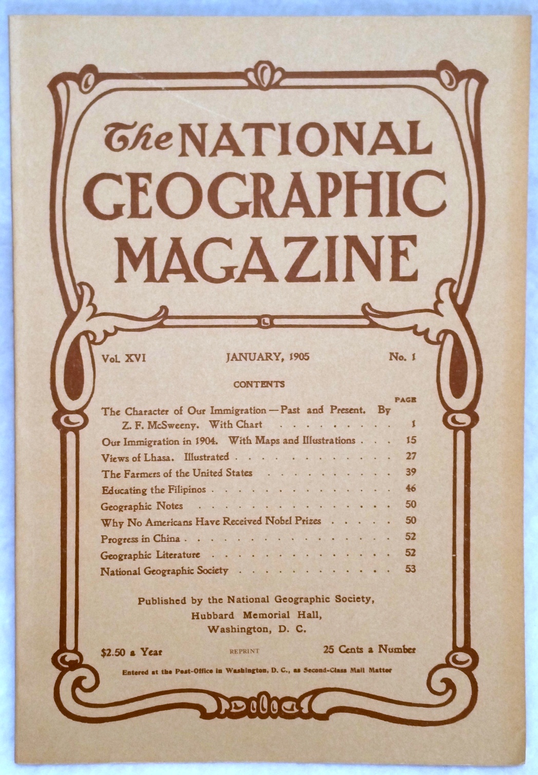 Image for The National Geographic Magazine, Vol.  XVI. No. 1, January, 1905 [Facsimile Reprint]